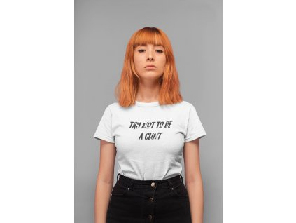 t shirt mockup of a serious faced girl standing in a studio 20844