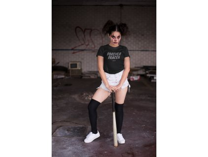 halloween t shirt mockup of a girl with clown makeup and a baseball bat 22922