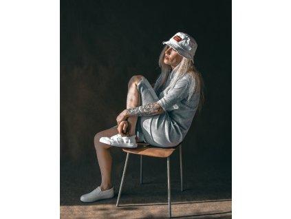Šaty Rib Long Grey / 3/4 Sleeve