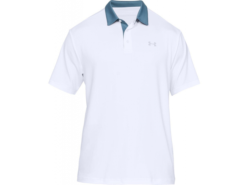 Under Armour Playoff Polo 2 Wedge, White, Thunder, Mod Gray