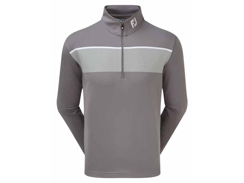 FootJoy Jersey Chest Stripe Chill-Out Pullover, Granite with Heather Grey, White