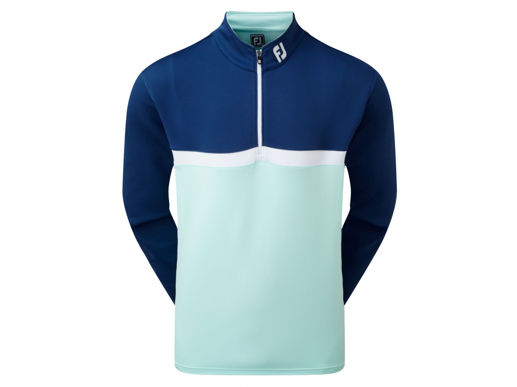 FootJoy Colour Blocked Chill-Out Pullover, Deep Blue, Mint, White