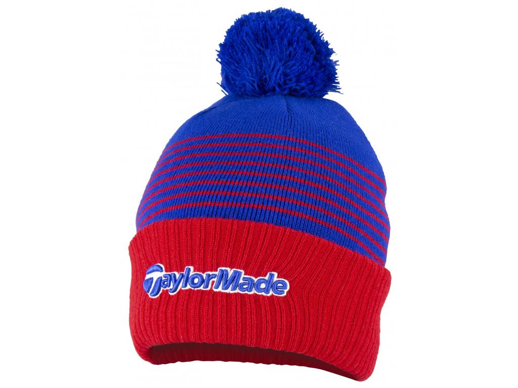 TaylorMade Bobble Beanie, červená, modrá, pro muže