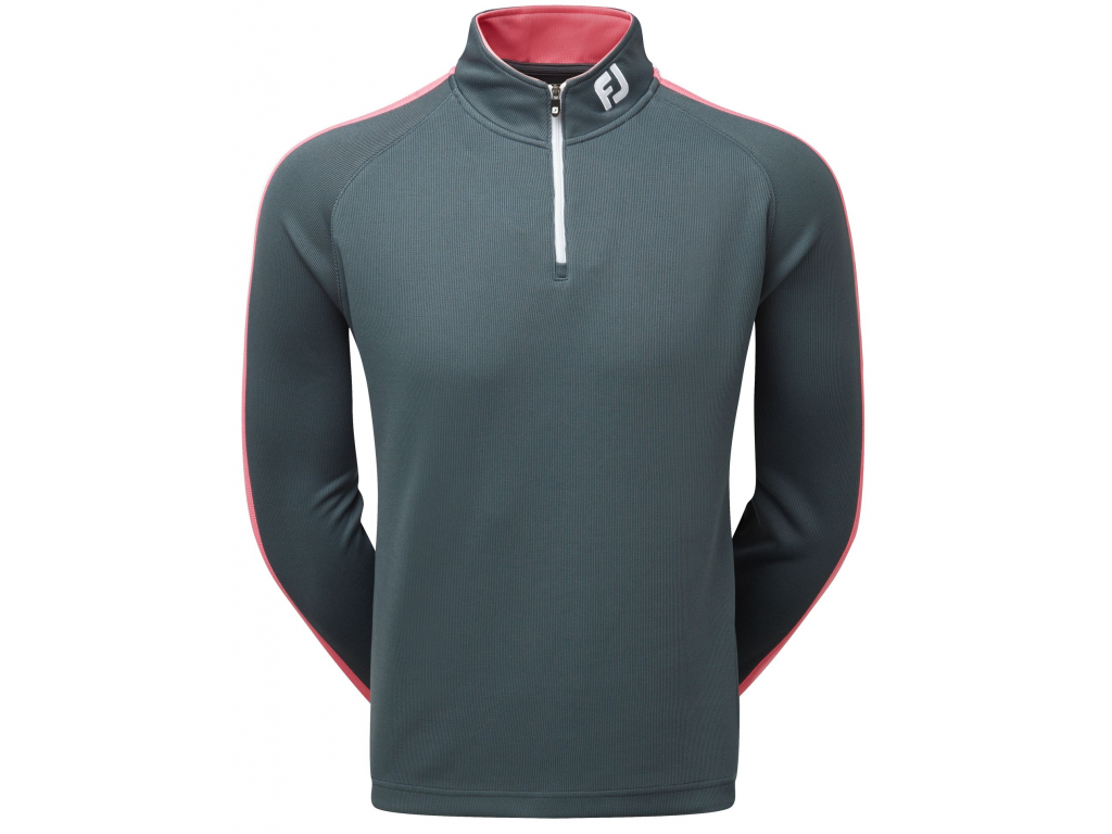 FootJoy Textured Chill-Out Pullover, Charcoal, Pink Azalea, White