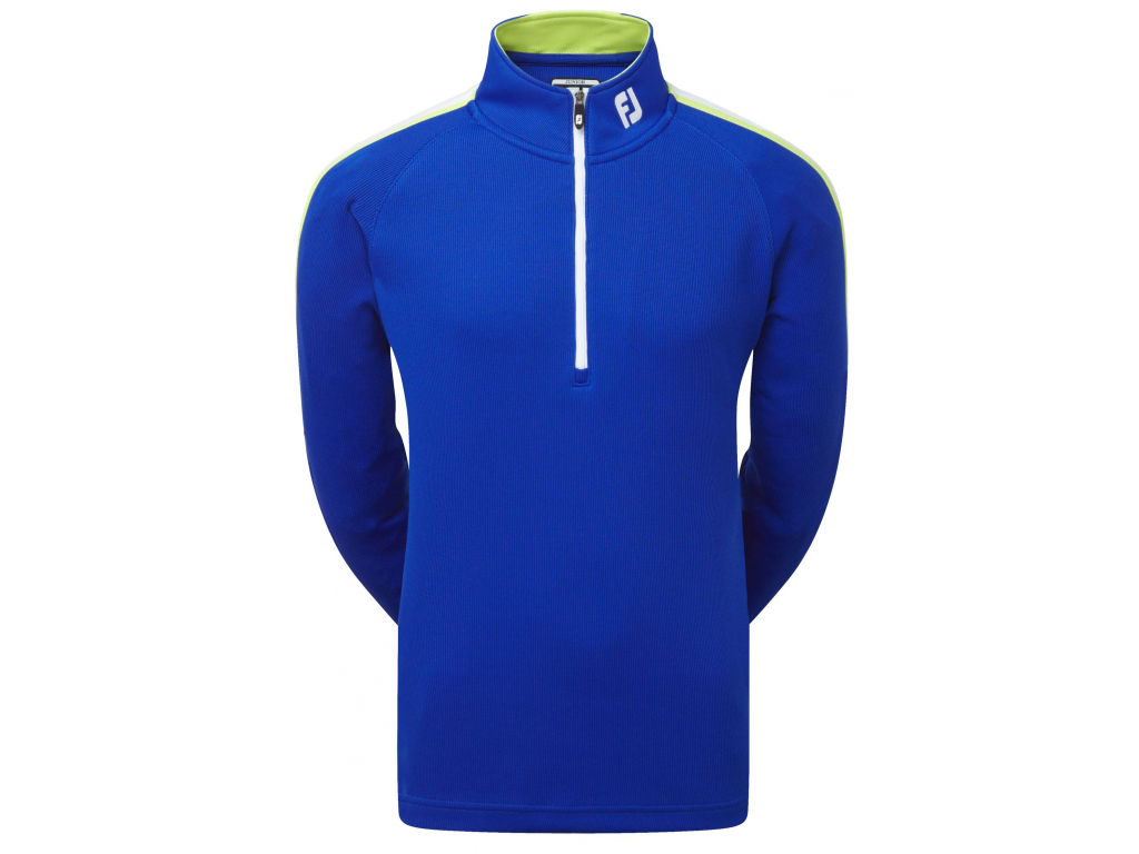FootJoy Textured Chill-Out Pullover, Midnight Blue, Apple Green, White