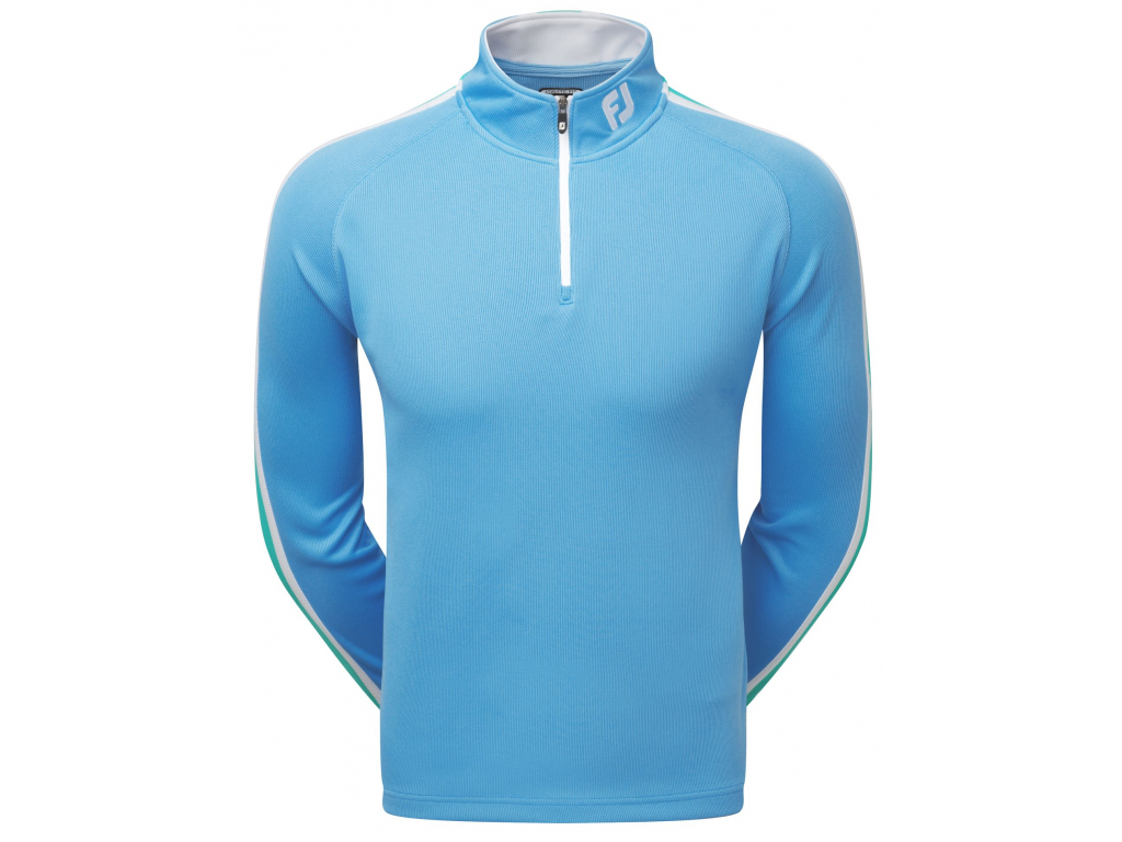 FootJoy Textured Chill-Out Pullover, Sky Blue, White, Spearmint