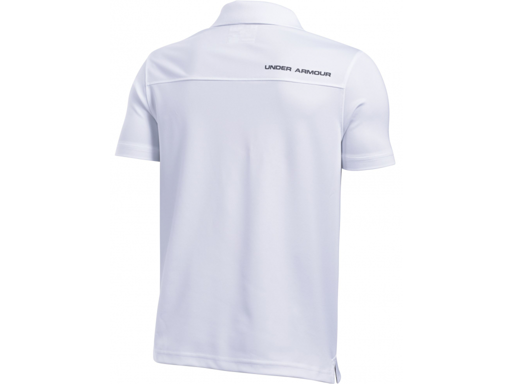 Under Armour Junior Performance Polo, White, True Gray Heather, Rhino Gray