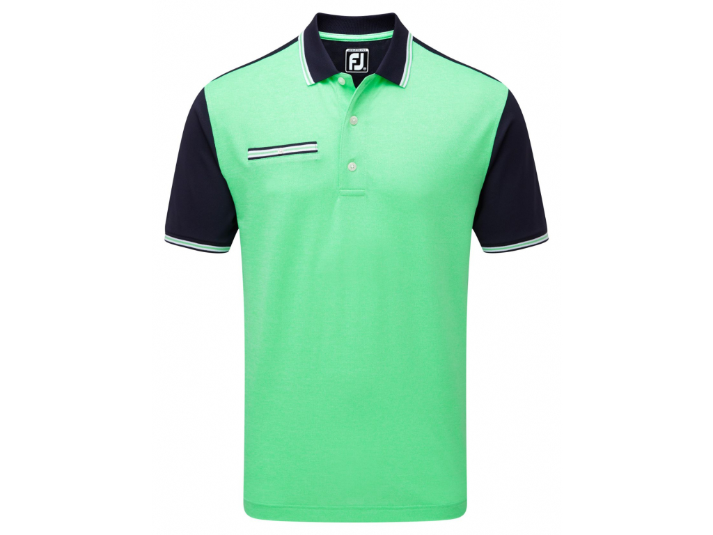 FootJoy Stretch Pique Front Colour Block, Navy, Green