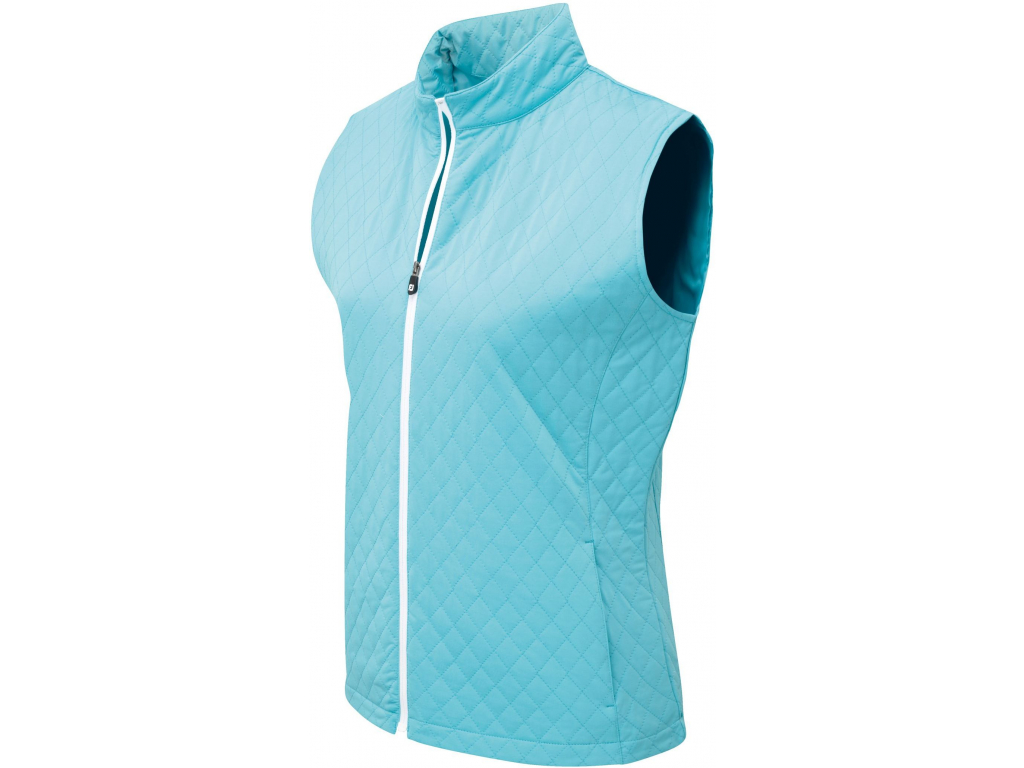 592 footjoy womens quilted vest aqua white