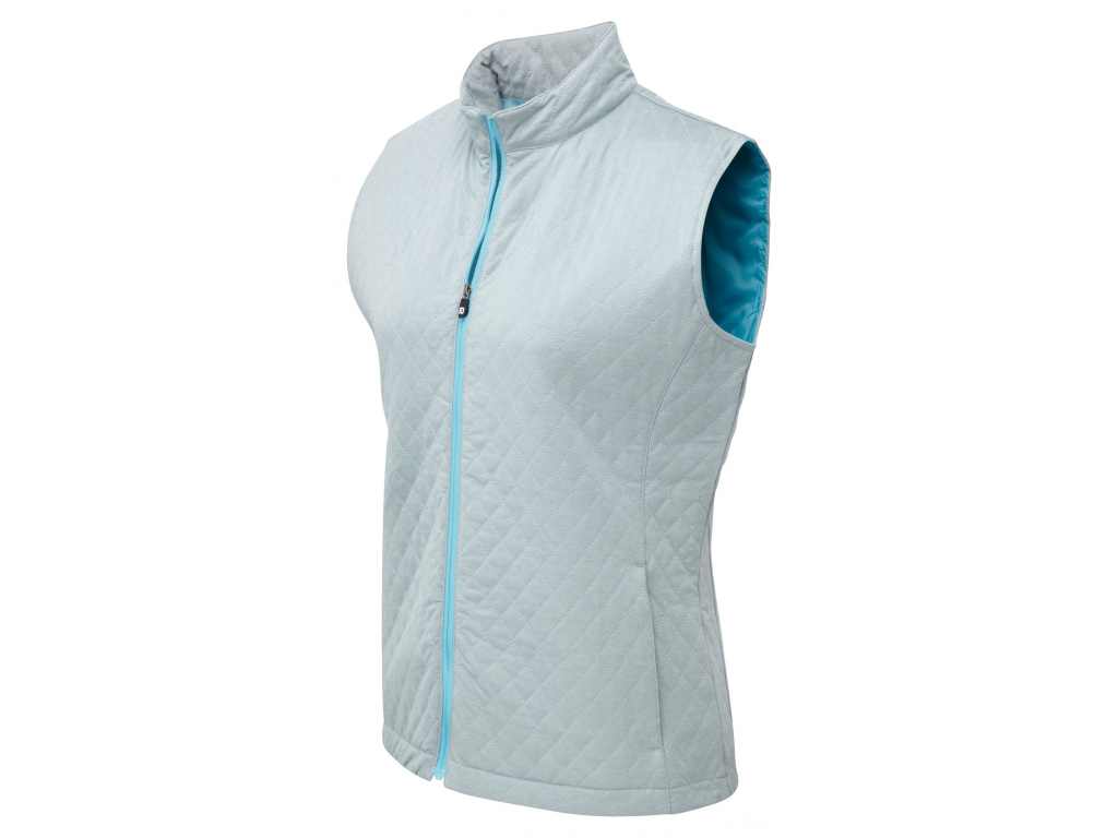 FootJoy Womens Quilted Vest, Grey, Aqua