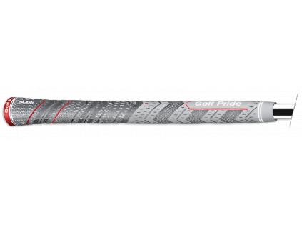 Golf Pride MCC Plus4 Align, Černý, Šedý  s proužkem na spodku gripu pro přesné založení.