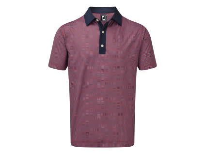 FootJoy Stretch Lisle Basketweave Print, Scarlet, Caribbean with Navy Collar