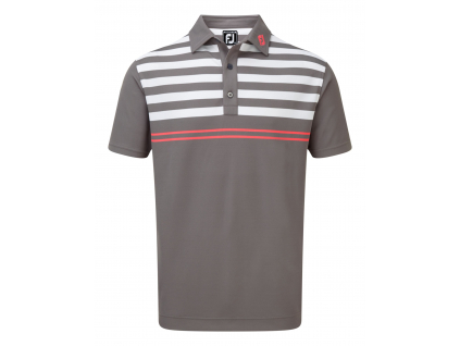 FootJoy Stretch Pique with Graphic Stripes, Granite with White, Watermelon