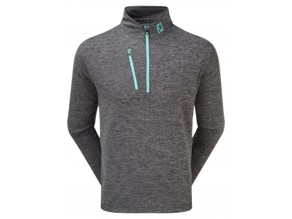 FootJoy Heather Pinstripe Chill-Out Pullover, Black with Aqua