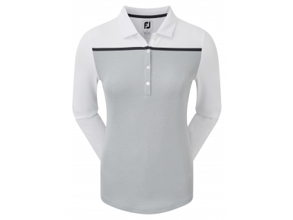FootJoy Smooth Pique Long Sleeved Colour Block, Heather Grey with White, Navy