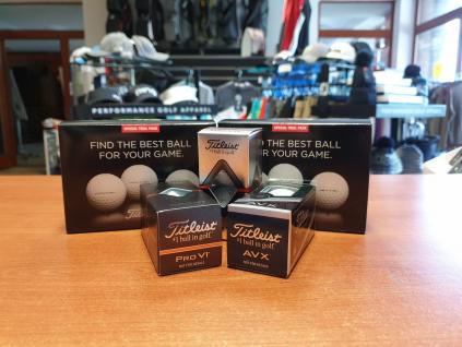 Titleist Trial Pack 2019  2 míčky Pro V1, 2 míčky Pro V1x, 2 míčky AVX