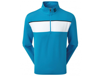 FootJoy Jersey Chest Stripe Chill-Out Pullover, Sapphire, White, Black