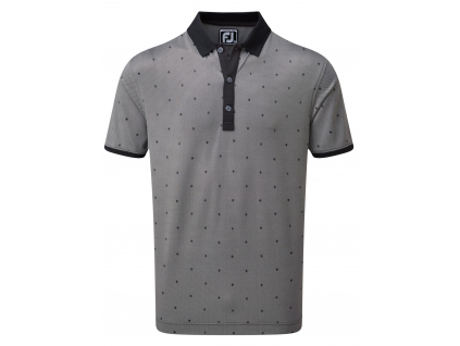 FootJoy Birdseye Argyle Print with Knit Collar, Black, White