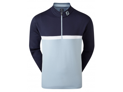 FootJoy Colour Blocked Chill-Out Pullover, Navy, Blue Fog, White