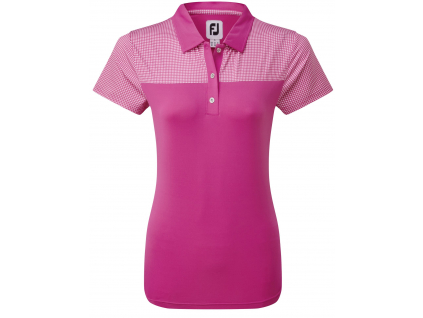 FootJoy Lisle Shirt Dot Print Yoke, Rose, White