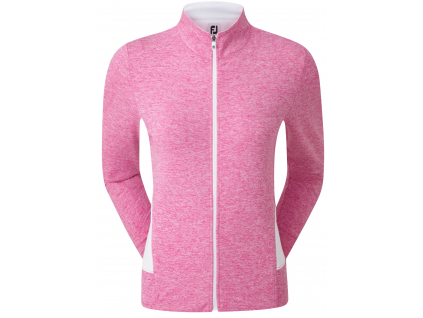 FootJoy Full-Zip Knit Mid-Layer, Heather Rose, White