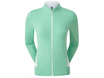 FootJoy Full-Zip Knit Mid-Layer, Heather Jade Stone, White