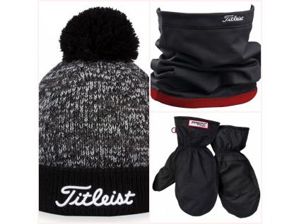 Zímní balíček Titleist - kulich, nákrčník a palčáky  - Skvělý vánoční dárek pro zapálené golfisty.