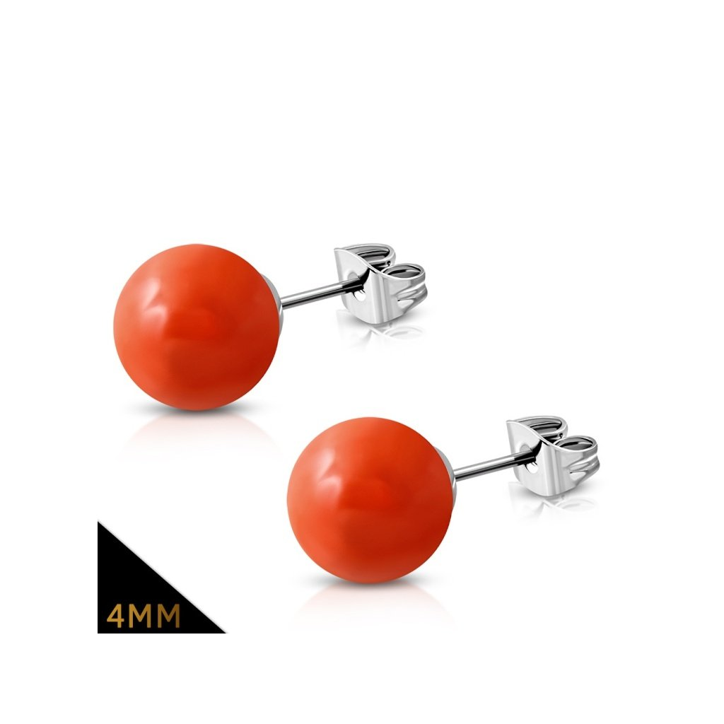 Dámske oceľové náušnice guličky červeno-oranžové
