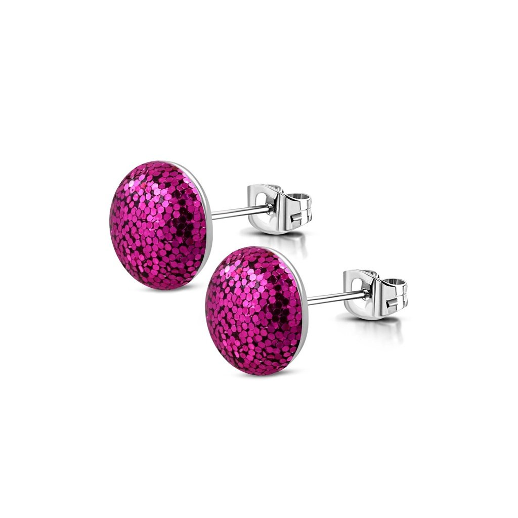 Náušnice z chirurgickej ocele Shimmer - ružové