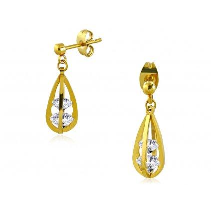 Náušnice z chirurgickej ocele visiace zlaté so zirkónmi v tvare diamantu - Siena