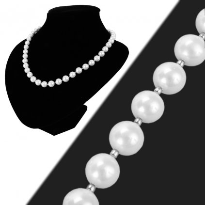 Náhrdelník perlový biely Shell perly 8 mm  + darčeková krabička zadarmo