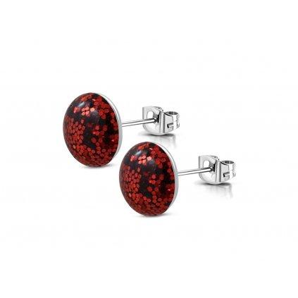 Náušnice z chirurgickej ocele Shimmer - červené