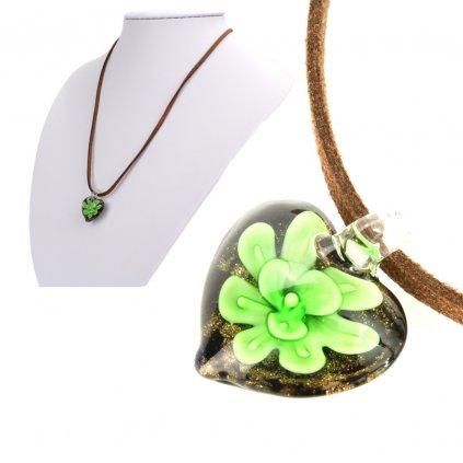Náhrdelník srdiečko zelený kvet  + darčeková krabička zadarmo