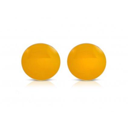 Náušnice okrúhle z ocele - svetlo oranžové