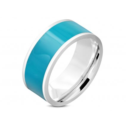 Prsteň obrúčka z chirurgickej ocele zdobený modrým smaltom/Prstene z chirurgickej ocele