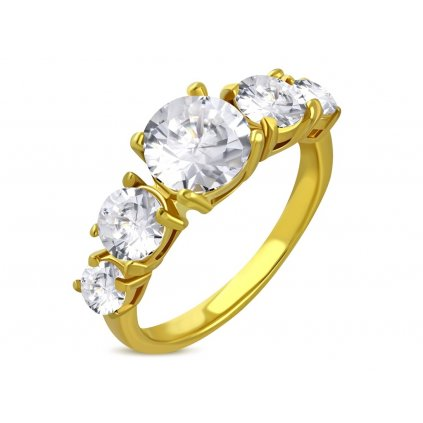 Prsteň z chirurgickej ocele v zlatej farbe s piatimi očkami/Prstene z chirurgickej ocele
