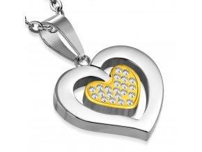 Retiazka s príveskom srdce so zlatým srdiečkom