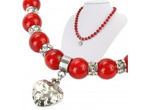 Náhrdelník červený shell perly so srdiečkom