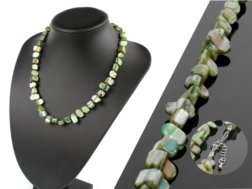 Dámsky náhrdelník z morskej perlete - zelený  + darčeková krabička zadarmo