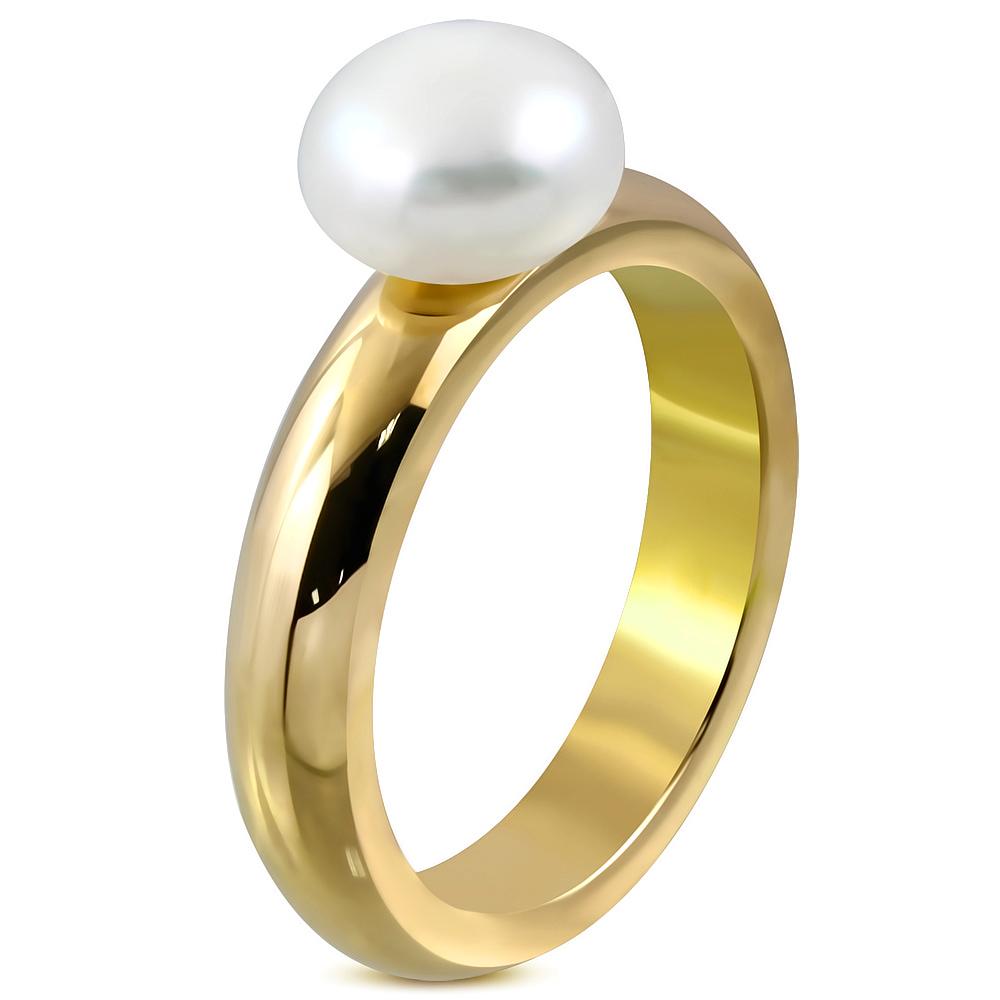 Prsteň s bielou perlou  + darčeková krabička zadarmo velkost prstena: 54
