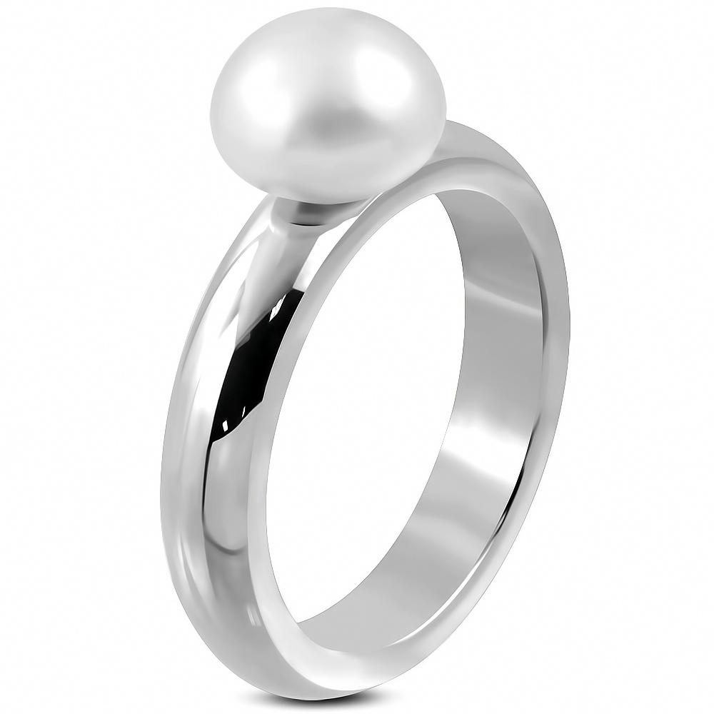 Prsteň s bielou perlou  + darčeková krabička zadarmo velkost prstena: 60