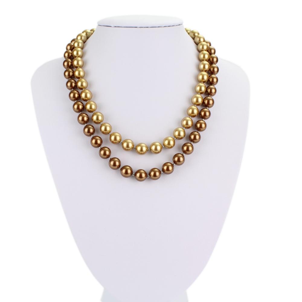 Náhrdelník perlový dvojfarebný Shell perly  + darčeková krabička zadarmo