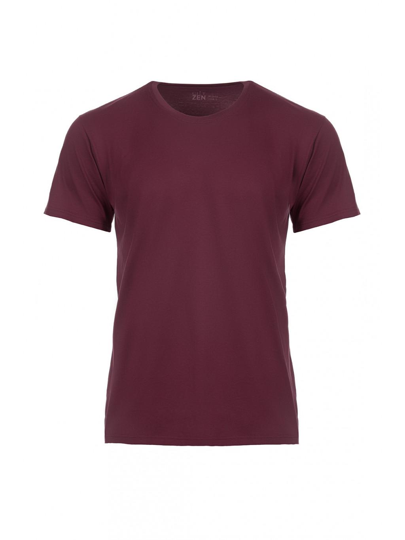 Bavlněné triko CityZen vínové kulatý výstřih + dárek