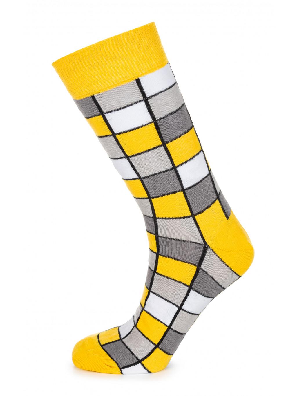 ponozky kostkovane zlute 01