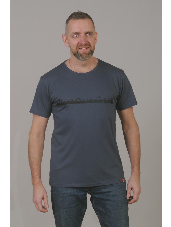 Bavlněné triko CityZen šedé kulatý výstřih potisk