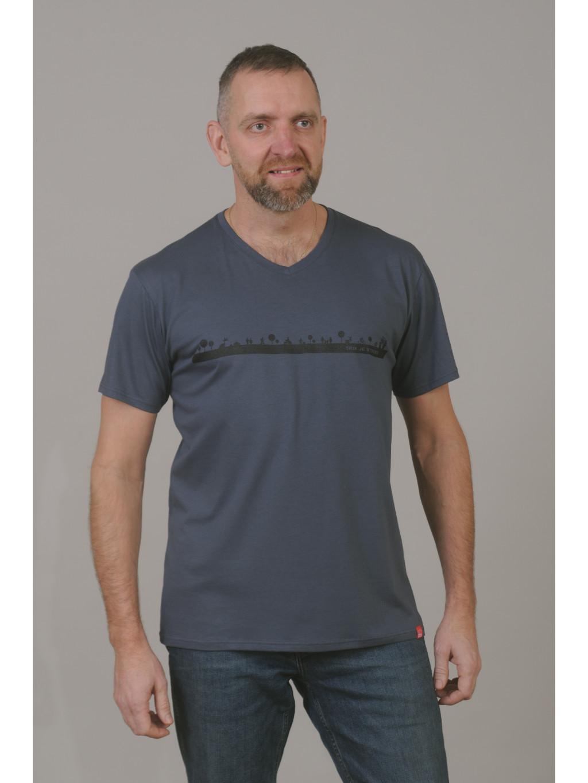 Bavlněné triko CityZen šedé výstřih do V potisk