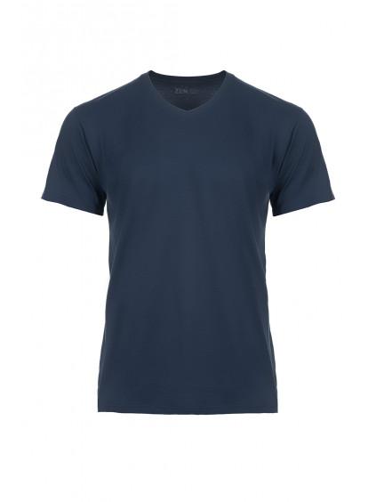 Bavlněné triko CityZen modré výstřih do V + dárek