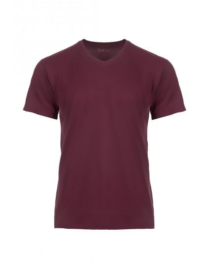 Bavlněné triko CityZen vínové výstřih do V + dárek
