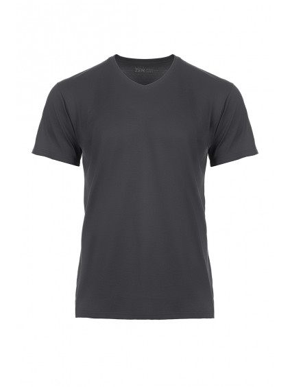 Bavlněné triko CityZen šedé výstřih do V + dárek