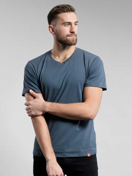 Bavlněné triko CityZen šedé výstřih do V